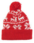 Ladies Girls Beanie Bobble Winter Hat With Snowflakes & Reindeer *UK Pro-Seller