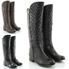 LADIES FLAT LOW HEEL KNEE HIGH ELASTIC ZIP CALF BIKER WOMENS RIDING BOOTS SIZE