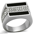 Mens Center Crystal Pave Silver Stainless Steel Ring
