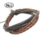Men Women Unisex colorful 4-layer braided rope Genuine Leather Bracelet 308
