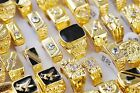 Wholesale Mixed Jewelry Lots Men's Gold Plated Rhinestone Rings Free Shipping