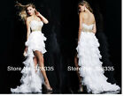 New Custom Made High Low Style Beads Sequins Chiffon Prom Dresses Evening Gown
