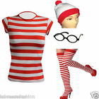 LADIES WOMENS KIDS WHERES RED WHITE STRIPED TSHIRT HAT GLASSES SOCKS FANCY DRESS