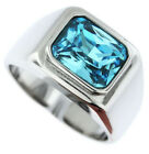 Mens AquaMarine Solitaire Silver Stainless Steel Ring