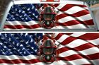Firefighter helmet american flag rear window view thru vinyl graphic wrap