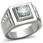 2.3ct Mounted Round Cut Clear CZ Stone Stainless Steel Mens Ring