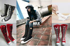 Cool Women Girl Punk Rock Emo Gothic Lace up boot shoes sneaker knee high