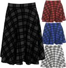 New Womens Plus Size Tartan Check Block Stretch Band Flared Skater Skirts 14-28