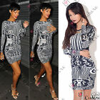 Womens Celebrity Black White Long Sleeve UK Ladies Bodycon Party Clubbing Dress