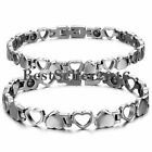 Men Women Stainless Steel Magnetic Therapy Bracelet Heart Hollow Hematite Bangle