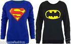 LADIES WOMENS GIRLS BATMAN SUPERMAN SWEATSHIRT TOP SWEATER