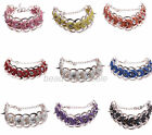 New Rivet Rhinestone Rose Gold Chain Rope Bracelet  Pink/White/Red/Blue