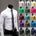 Mens Career Luxury Casual Slim Fit Stylish Solid Color Basic Shirts Tops
