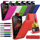Case for Sony Xperia M in Leather Flip with Stylus Pen + FREE Screen Protector