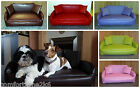 ZIPPY FAUX LEATHER SOFA DOG BED  - 5 SIZES 10 COLOURS - WIPE CLEAN EASY CARE BED