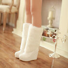 Winter Warm Womens Fashion Wedge High Heel Fur Furry Pull On Flat Ankle Boots