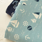 Zakka Vintage Chic Sailing Boat Anchor Helm 100% Cotton Fabric Craft Dressmaking