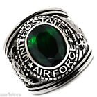 Mens US Air Force Green Stone Military Stainless Steel Ring