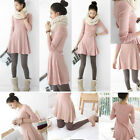 Rare Womens Korean Style Solid Plain Soft Long Sleeve Mini Dress Skirts