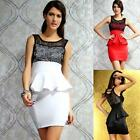 AU Sexy Lace Sleeveless Peplum Mini Bodycon Wedding Cocktail Evening Party Dress