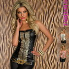 New Sexy 6 8 10 Women's Corsage Top Hottest Party Clubbing Leather Look XS S M