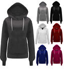 NEW WOMENS LADIES PLAIN HOODIE SWEATSHIRT FLEECE HOODED JACKET PLUS SIZE 8-20
