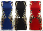 NEW LADIES WOMENS DESIGNER BODYCON MIDI DRESS SLEEVELESS PARTY WEAR GOLD PRINT