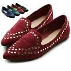 ollio Womens Ballet Shoes Comfort Faux- Suede Studded Pointed Toe Flats