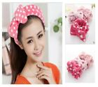 HOT Lovely Princess Polka Dot of Coral Velvet Bow Headband Makeup Wash Hair Band
