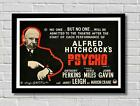 Alfred Hitchcock Rare Psycho Promo Movie Film Poster Print Picture A3 A4