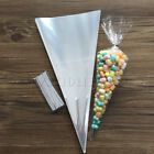Clear Cone Cello Cellophane Bags for Sweets and Candy Party Bags + Free Ties