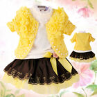 Toddler Girls 3 PC Outfit Set Formal Casual Suit Size 1-5 Years Jacket+Top+Dress