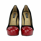 NEW Womens Ladies Black Suede High Heel Red Patent Toe Cap Court Shoes Size UK
