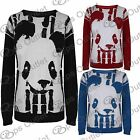Ladies Full Sleeves Panda Face Girls Knitted Pullover Womens Sweater Jumper Top