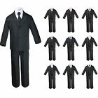New 6pc Black Formal Tuxedo Suit  Extra Satin Necktie for Boy Baby Toddler S-20