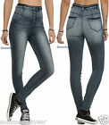 Cello Medium Blue Washed 4-Button High-Waisted Skinny Stretch Jeans/Jeggings