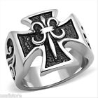 Mens Fleur De Lis Cross Shape Silver Stainless Steel Ring