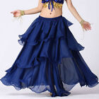 NAVY BLUE | Women Lady Hot Spiral Skirts 3 Layer Circle Belly Dance Costume Boho