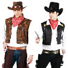 Western Cowboy Costume + Tash Mens Wild West Sheriff Adults Rodeo Fancy Dress