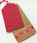 WASHI TAPE GIFT TAGS HANDCRAFTED SET OF 6 RED EMBOSSED UNIQUE & BEAUTIFUL