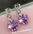 White Gold Plated  Purple/Ocean Blue Swarovski Crystal Heart Earring/ME028/023