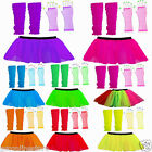 Neon UV Tutu SKirt Gloves Leg Warmers Beads 1980s Fancy Dress Hen Night Party