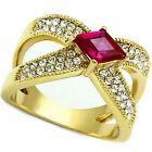 Ladies Ruby Red Diamond Shape Stone 18kt Gold Plated Anniversary Ring