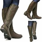 New Womens FMr9 Brown Studded Riding Knee High Boots US Size 5.5 6
