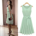 Retro 50s Mint Green Sleeveless Belted Pleat Chiffon Skater Dress