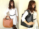 Womens Vintage Designer Faux Leather Tote Handbags Shoulder Bags Laptop Shopper