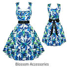 RKH25 Hearts & Roses Blue Summer Sleeveless Rockabilly Dress 50's Vintage Swing