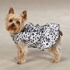 Shimmering Snow Leopard satin Dog Dress sleeveless ruffled pet apparel clothing