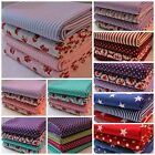 Bundle of 4 x HALF METRE Fabric Stars Stripes Spots and Flowers 100% Cotton.