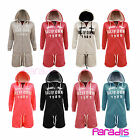 LADIES WOMENS CALIFORNIA HOODED SHORT JUMPSUIT ALL IN ONE ONESIE PLAYSUIT 8-14